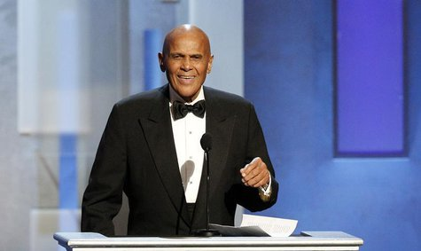 Harry Belafonte speaks as he accepts the Spingarn Award during the 44th Annual NAACP Image Awards at the Shrine Auditorium in Los Angeles, C