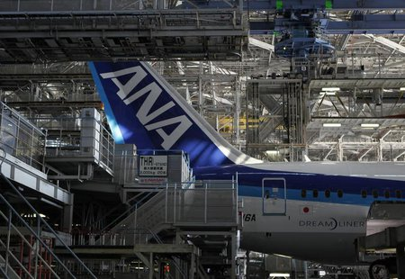 An All Nippon Airways' (ANA) Boeing 787 Dreamliner aircraft is seen at ANA's maintenance center in Tokyo April 28, 2013. REUTERS/Yuya Shino