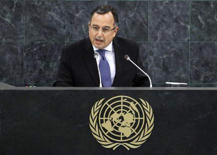 Egypt's Minister of Foreign Affairs Nabil Fahmy addresses the 68th United Nations General Assembly at UN headquarters in New York, September