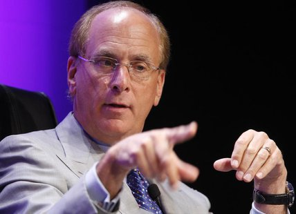 Laurence Fink, Chairman and Chief Executive Officer of BlackRock, speaks during the Wall Street Journal Deals and Dealmakers conference, in