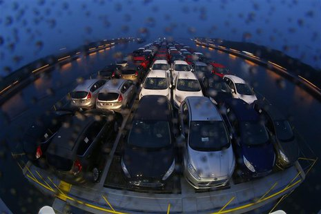 "Newly manufactured Ford Fiesta cars are seen on the deck of the car transport ship ""Tossa"", during its journey from a Ford plant in the Germ"