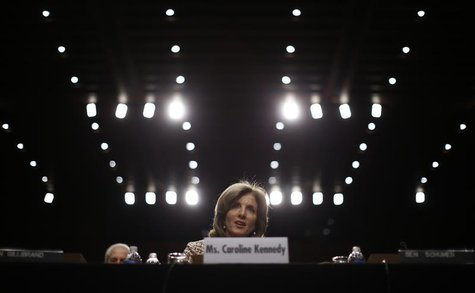 Caroline Kennedy, daughter of former U.S. President John F. Kennedy, testifies at her U.S. Senate Foreign Relations Committee hearing on her