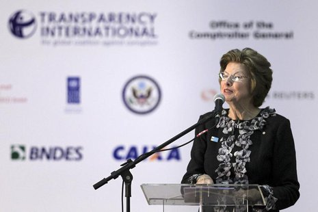 "Chair of Transparency International Huguette Labelle speaks during The 15th biennial International Anti-Corruption Conference ""Mobilising Pe"