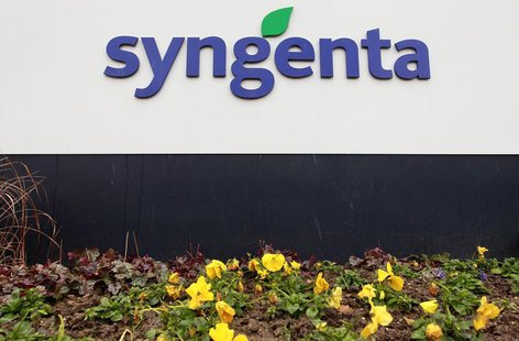 Agrochemicals maker Syngenta's logo is seen in front of the company's headquarters in Basel February 6, 2013. REUTERS/Arnd Wiegmann