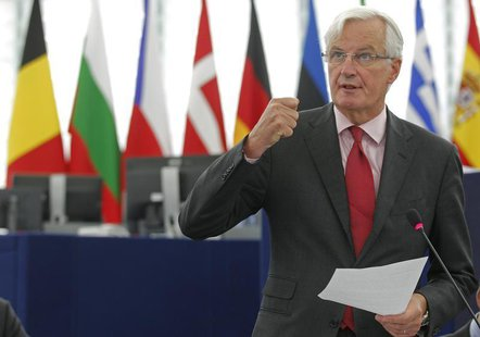 European Commissioner for Internal Market and Services Michel Barnier addresses the European Parliament during a debate on the European Bank