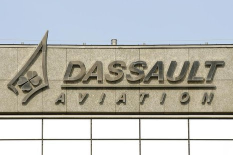 The logo of French airplanes maker Dassault Aviation is seen on Dassault Aviation headquarters before a news conference to present the compa