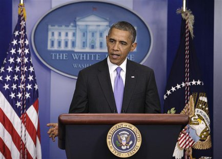 U.S. President Barack Obama speaks to the media in the briefing room of the White House in Washington after the Senate passed the bill to re