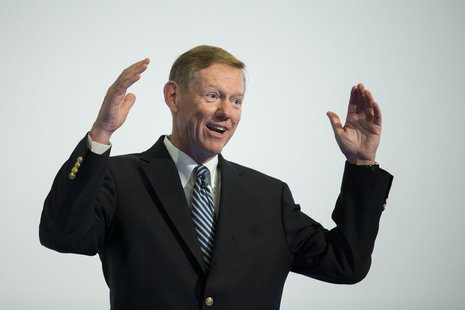 Alan Mulally, President and CEO of Ford Motor Company speaks at the Automobilwoche automotive industry conference in Berlin November 7, 2012
