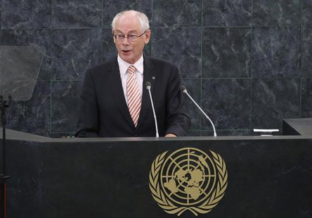 Herman Van Rompuy, President of the European Council, addresses the 68th United Nations General Assembly at U.N. headquarters in New York, S