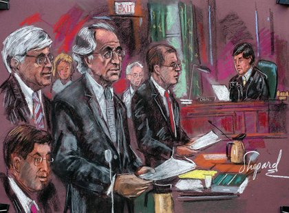 Convicted swindler Bernard Madoff (C) enters his plea of guilty in Manhattan Federal Court in this courtroom drawing March 12, 2009. REUTERS