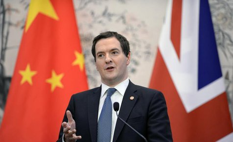Britain's Chancellor of the Exchequer George Osborne talks during a press briefing at the Diaoyutai Guesthouse in Beijing October 15, 2013.