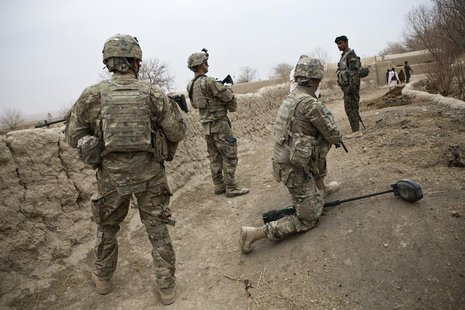 U.S. troops are seen on patrol near Command Outpost AJK (short for Azim-Jan-Kariz, a nearby village) in Maiwand District, Kandahar Province,