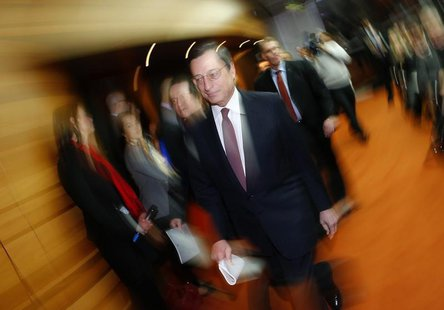 Mario Draghi, President of the European Central Bank (ECB), arrives for his monthly news conference in Frankfurt, January 10, 2013. REUTERS/