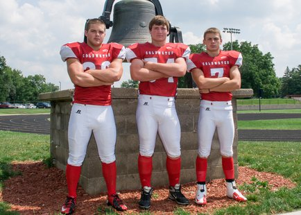 The captains for the 2013 Coldwater Cardinal varsity football team, L-R: Cooper Murphy, Joel Jepson, Chris VandenHout. Photo courtesy Geskus Photography.