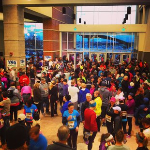 The crowd inside Scheels Arena before the start of the Fargo Mini Marathon.