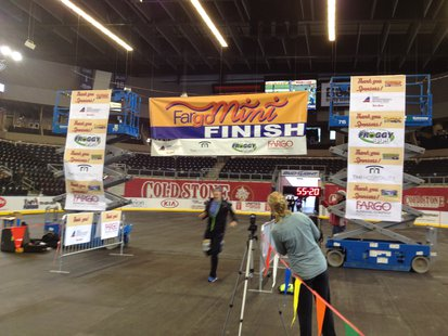 The finish line inside the Scheels Arena for the Fargo Mini Marathon.