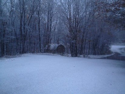 Snow on the ground east of Detroit Lakes (Photo courtesy Facebook)