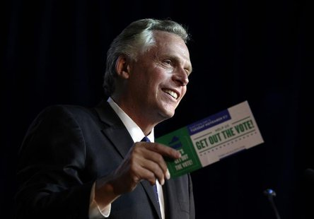 Former DNC chairman Terry McAuliffe speaks at an event to be endorsed by former U.S. Secretary of State Hillary Clinton as Virginia gubernat