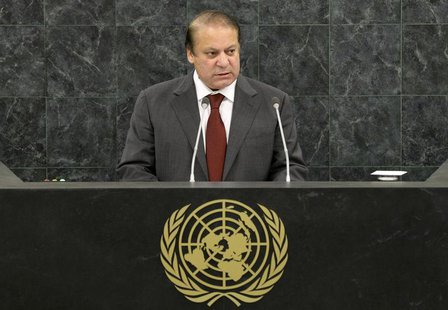 Pakistani Prime Minister Muhammad Nawaz Sharif addresses the 68th United Nations General Assembly at U.N. headquarters in New York, Septembe