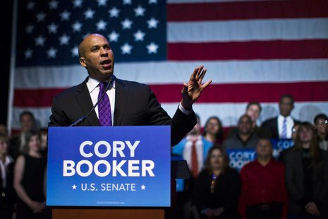 U.S. Senate candidate Cory Booker speaks during his campaign's election night event in Newark, New Jersey, October 16, 2013. REUTERS/Eduardo