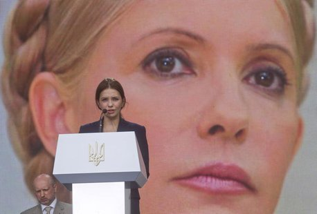 Yevgenia Tymoshenko, daughter of jailed Ukranian former Prime Minister and opposition leader Yulia Tymoshenko, addresses supporters of oppos