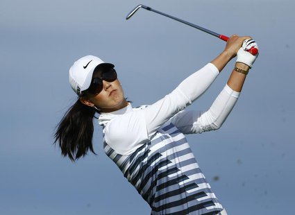 Michelle Wie of the U.S. tees off on the 16th hole during the second round of the women's Evian Championship golf tournament in Evian Septem
