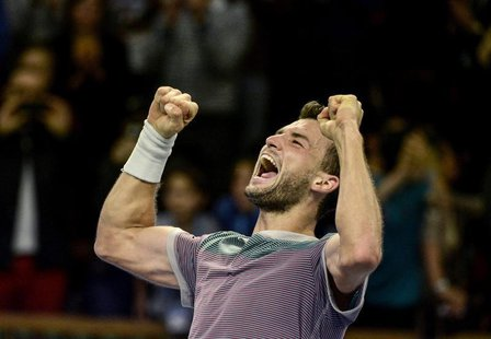 Bulgaria's Grigor Dimitrov reacts after winning the ATP Stockholm Open tennis tournament men's single final match against Spain's David Ferr