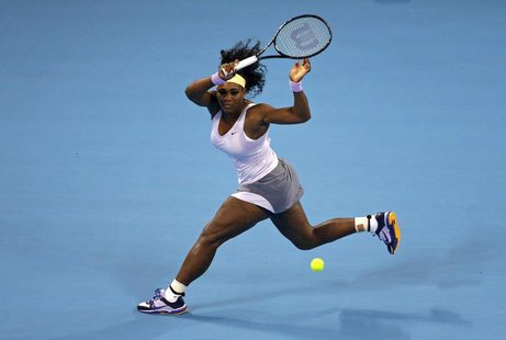 Serena Williams of the U.S. runs to return a shot during her women's singles final match against Jelena Jankovic of Serbia at the China Open