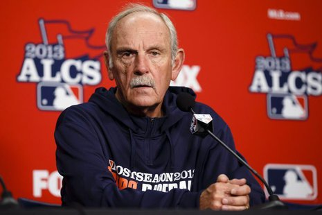 Oct 14, 2013; Detroit, MI, USA; Detroit Tigers manager Jim Leyland (10) talks to the media during practice the day before game three of the