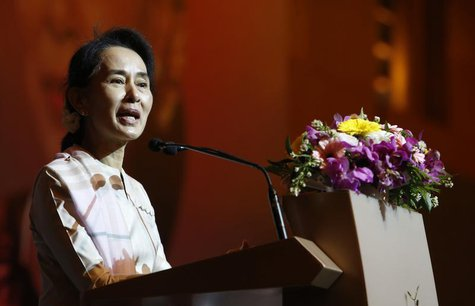 Myanmar's opposition leader Aung San Suu Kyi speaks to the Myanmar community living in Singapore on the island of Sentosa in Singapore Septe
