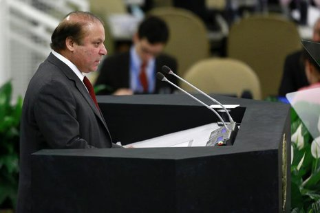 Pakistani Prime Minister Muhammad Nawaz Sharif speaks during the United Nations 68th session of the General Assembly at U.N. headquarters in