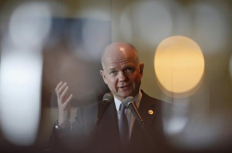 British's Foreign Secretary William Hague delivers a speech on UK-Korea relations to the British Chamber of Commerce and Seoul Financial For