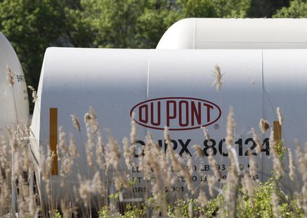 A view of the Dupont logo on a train car at the Dupont Edge Moor facility near Wilmington, Delaware, in this April 17, 2012 file photo. REUT