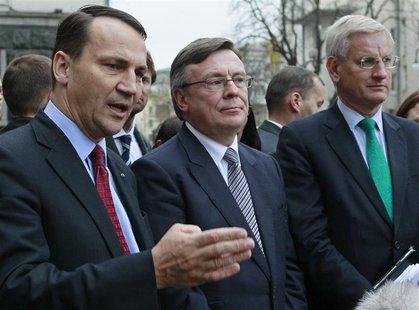 Ukraine's Foreign Minister Leonid Kozhara (C), Poland's Foreign Minister Radoslaw Sikorski (L) and Sweden's Foreign Minister Carl Bildt spea