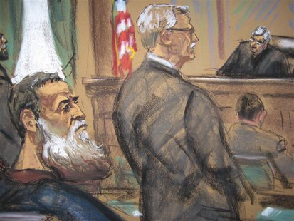 A courtroom sketch shows Nazih al-Ragye (3rd from L) known by the alias Abu Anas al-Liby as he appears with his attorney Bernard Kleinman (C