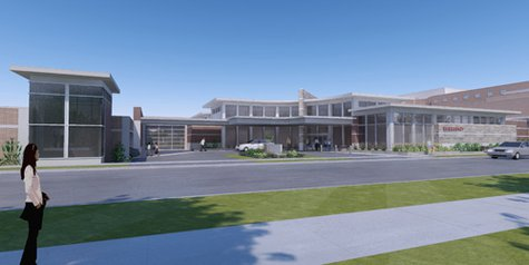 Artist rendition of St. Michael's Hospital addition to Emergency Department, featuring new entrance, new ambulance garage, and additional exam rooms inside.  Source: St. Michael's Hospital
