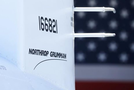 The corporate logo of Northrop Grumman is shown on a Fire Scout MQ-8 B unmanned helicopter during a ceremony at Naval Air Station North Isla