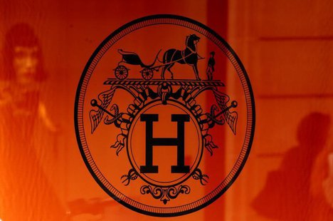 The company logo of French luxury group Hermes is seen at a shop in Paris August 30, 2013. REUTERS/Jacky Naegelen