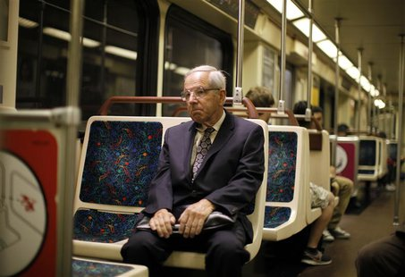 Shareholder activist John Chevedden, 67, rides the subway to the DreamWorks Animation SKG Inc stockholder meeting in Hollywood, California M