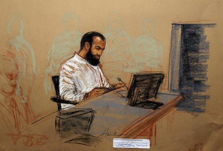 Ammar al Baluchi, also known as Ali Abd al Aziz Ali, appears at his arraignment as an accused 9/11 co-conspirator in this courtroom sketch r