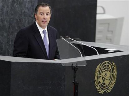Mexico's Minister of Foreign Affairs Jose Antonio Meade Kuribrena addresses the 68th United Nations General Assembly at the UN headquarters in New York, September 26, 2013. Credit: Reuters/Adam Hunger