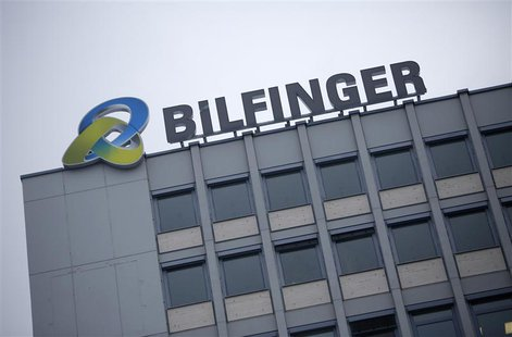 The logo of German industrial services provider Bilfinger is pictured on top of their headquarters in Mannheim in this January 21, 2013 file