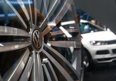 An aluminium wheel is pictured at the stand of German car manufacturer VW at the Frankfurt Motor Show (IAA) September 14, 2013. REUTERS/Ralp