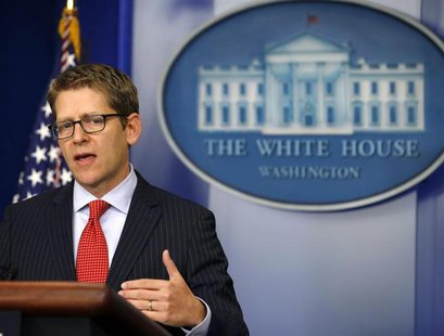 White House press secretary Jay Carney speaks at the daily briefing at the White House in Washington, October 15, 2013. REUTERS/Jason Reed