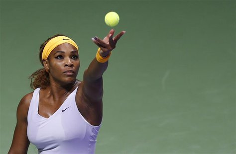Serena Williams of the U.S. serves during her WTA tennis championships match against Petra Kvitova of the Czech Republic at Sinan Erdem Dome
