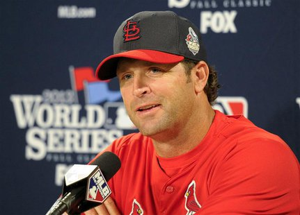 Oct 22, 2013; Boston, MA, USA; St. Louis Cardinals manager Mike Matheny (22) speaks to the media on the day before game one of the World Ser