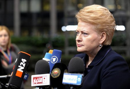 Lithuania's President Dalia Grybauskaite arrives at a European Union leaders summit in Brussels October 25, 2013. REUTERS/Laurent Dubrule