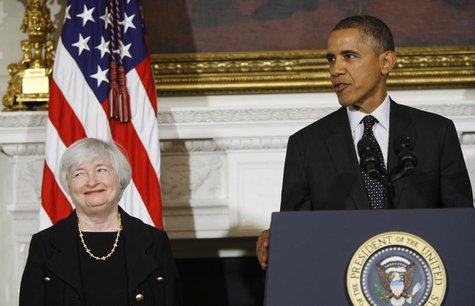 U.S. President Barack Obama announces his nomination of Janet Yellen to head the Federal Reserve at the White House in Washington October 9,