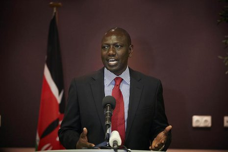 Deputy Kenyan President William Ruto addresses the media at a news conference at the Movenpick Hotel in the Hague October 15, 2013. REUTERS/