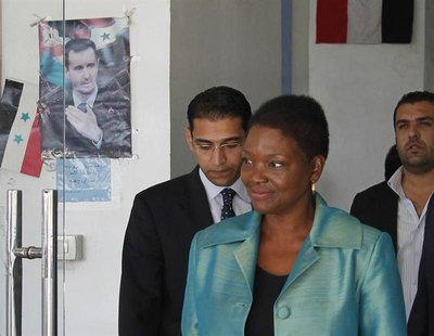 Top U.N. humanitarian official Valerie Amos leaves the Labour Ministry building after a meeting with Syrian officials in Damascus September